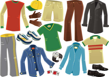 Various illustrations of clothing for men including tshirt, cargo shorts and dress shoes.
