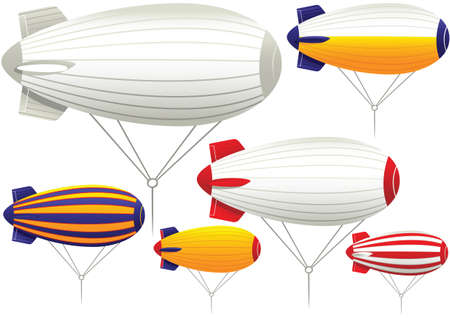 tether: Various illustrations of common tether style blimps.