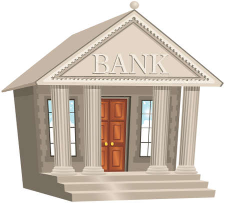 loaning: An image of a classical style bank building. Illustration
