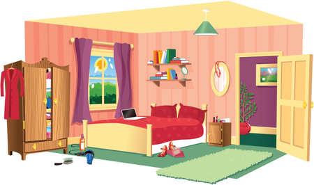 Een open illustratie van een typische slaapkamer in elk huis.