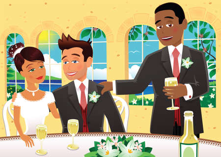 An image of the best man, a bride and groom at a wedding party.