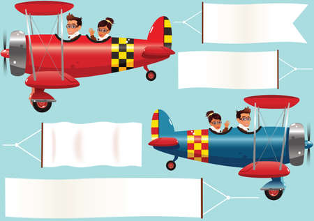 Two illustrations of twin seat biplanes and blank banners, ready for your own message. Illustration