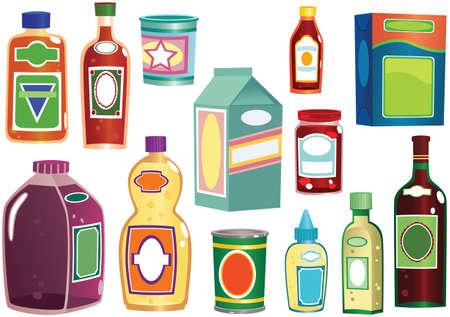 Varie illustrazioni di bottiglie, pacchetti e contenitori generici che potresti trovare in qualsiasi negozio.