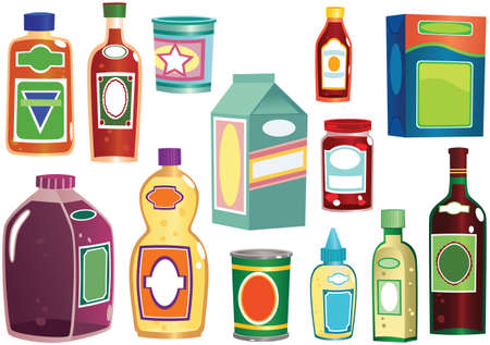 Various illustrations of generic bottles, packets and containers you might find in any shop.