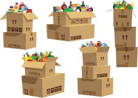 Vari illustrazioni di scatole di cartone con oggetti di generi alimentari in loro. Vettoriali