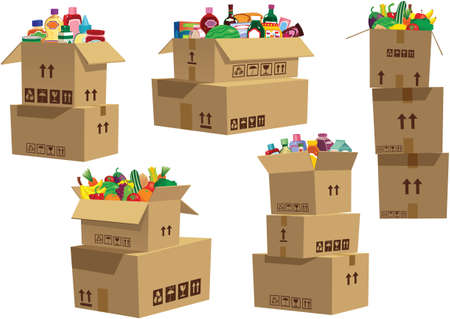 Various illustrations of cardboard boxes with grocery items in them.
