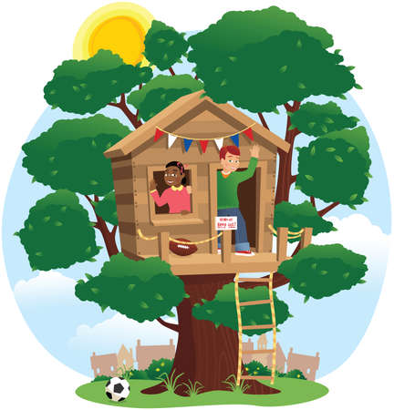 An image of two children playing in a treehouse den. Illustration
