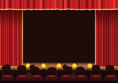 Une illustration d'une scène et d'un public. Beaucoup de place pour votre propre performance.