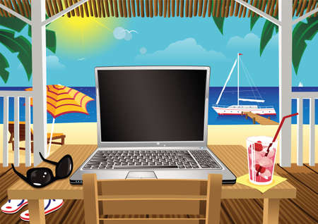 An illustration of a laptop computer sitting on a beach hut table by the sea. Screen is blank for your own message.
