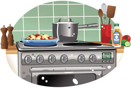 A detail illustration of a typical electric hob and oven.