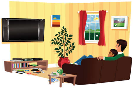 A cutaway illustration of a couple watching TV in their living room. TV is blank for your own message.