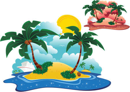 Two illustrations of a tiny desert island and cruise ship, in daytime and at dusk.