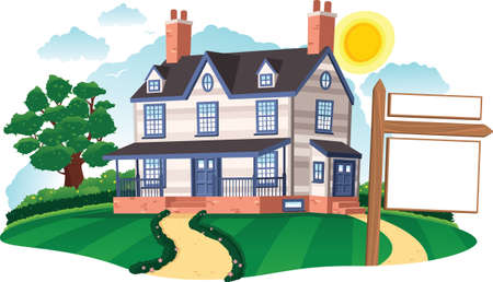 first house: An image of a large clapboard colonial style house. Blank real estate sign for your own message.