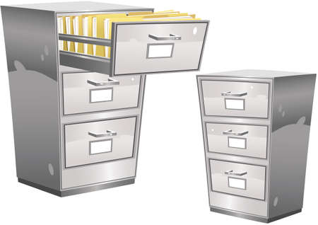 Two illustrations of a metal filing cabinet, one with top drawer open revealing files.