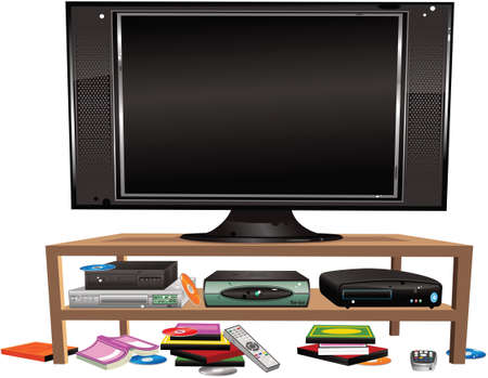 An illustration of home entertainment equipment on a low table. Screen is blank for your own message.