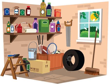 A cutaway illustration of a dusty garage or shed building.