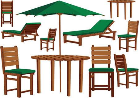 すべてのテラスの木製ガーデン家具のイラスト。  イラスト・ベクター素材