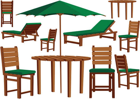 Illustrazioni di mobili da giardino in legno per qualsiasi terrazzo.