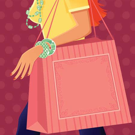 A detail illustration of a womans torso and large shopping bag. Ilustração