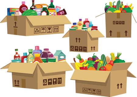 Cinque scatole di cartone piene di generi alimentari assortiti