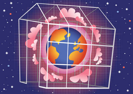 trapped: An illustration of The Greenhouse Effect.