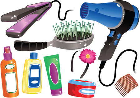Various illustrations of haircare grooming products.