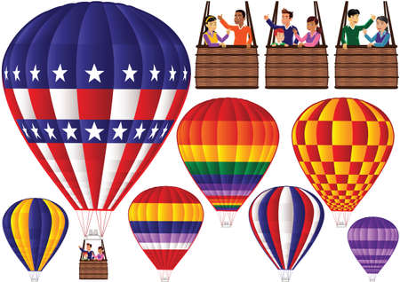 blimps: Illustrations of various hot air balloons and gondolas with passengers.