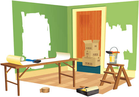 papering: A cutaway illustration of a room being renovated.