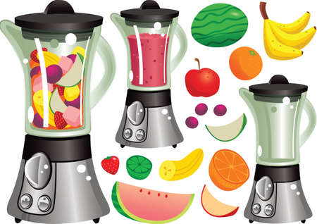 apples and oranges: Illustrations of a modern electric juicer and fruit.