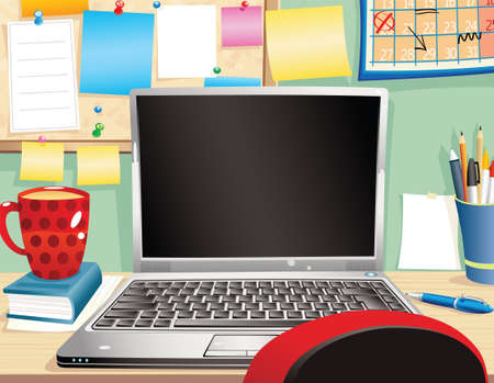 computerized: An illustration of a typical office cubicle, with plenty of blank space for your own message. Illustration