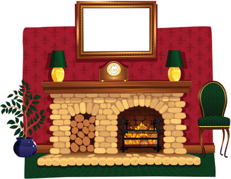 An illustration of a stone fireplace and surrounding hearth.