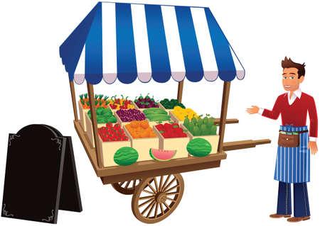 Een illustratie van een kleine houten marktkraam, vendor en leeg Een bord klaar voor uw bericht.