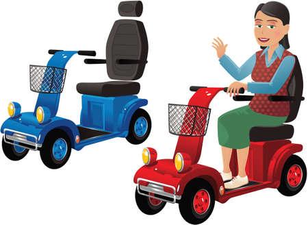 Twee afbeeldingen van een moderne elektrische mobiliteit buggy.