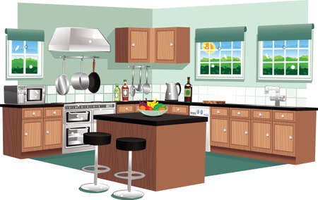 A cutaway illustration of a large modern kitchen.