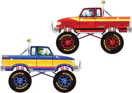 Two illustrations of typical 4 wheel drive monster trucks.