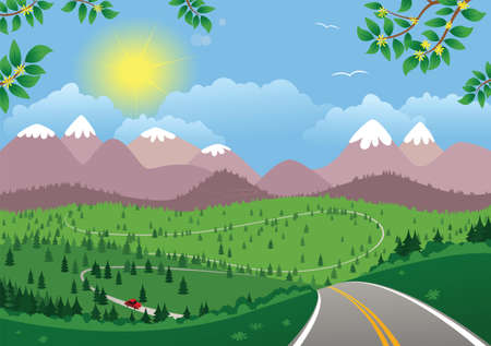 A beautiful moutainous landscape in the daytime.  イラスト・ベクター素材