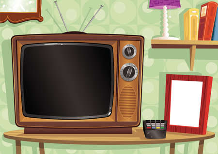An old fashioned TV in a retro living room. Plenty of blank space for your own message. Stock Illustratie