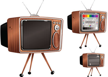 Three old fashioned TV's. One blank, one with static, and one with a test card.