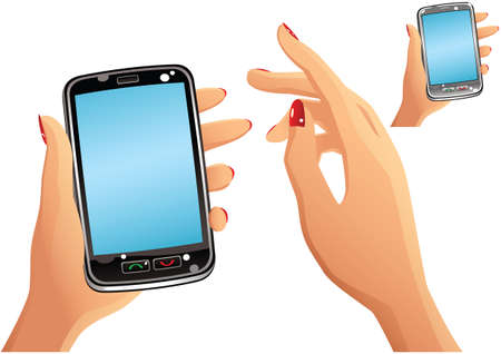 Two illustrations of a generic smartphone and human hands. Screen is blank for your own message. Ilustração