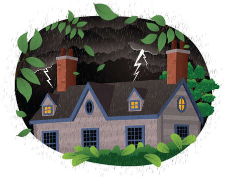 colonial house: A detail illustration of a house in a thunderstorm.