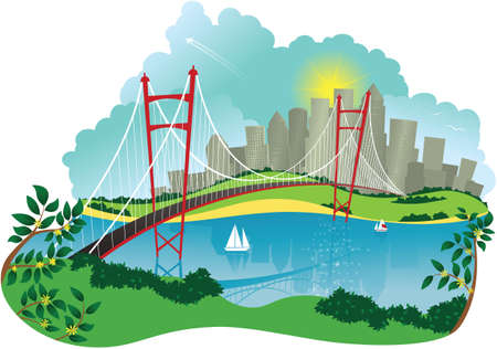 An illustration of a suspension bridge over a river and cityscape.