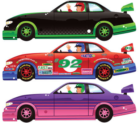 Three illustrations of powerful racing cars. Decals on red car are generic, and on a separate layer so can be re/moved.