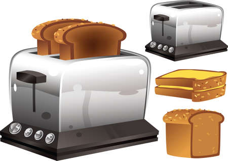 Two illustrations of a typical electric bread toaster.