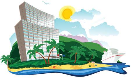 An illustration of a beachside hotel on a tropical island. Иллюстрация