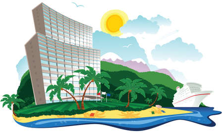An illustration of a beachside hotel on a tropical island. Illustration