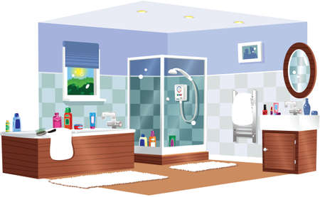A cutaway illustration of a typical bathroom with shower.