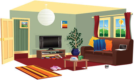 A cutaway illustration of a typical living room. Stock Illustratie
