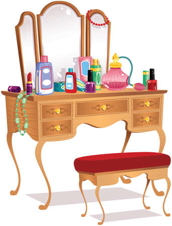 An illustration of an old fashioned wooden vanity dressing table.