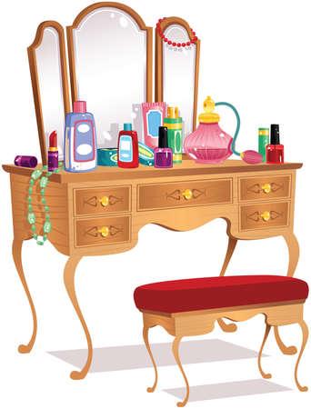 Een illustratie van een ouderwetse houten ijdelheid toilettafel.