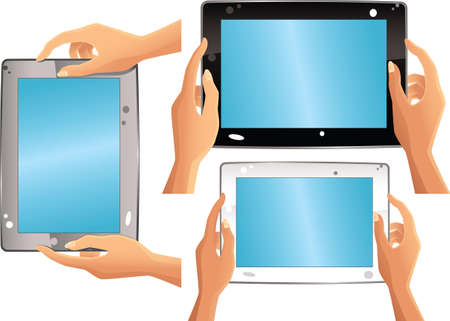 Three illustrations of a generic computer tablet, in white, silver and black colours.